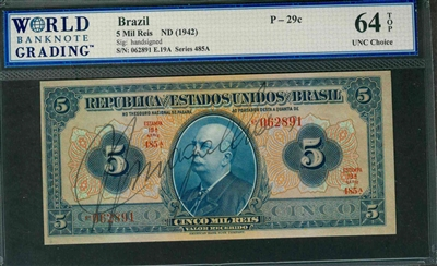 Brazil, P-029c, 5 Mil Reis, ND (1942), Signatures: handsigned, 64 TOP UNC Choice