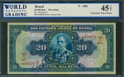 Brazil, P-048d, 20 Mil Reis, ND (1936), Signatures: handsigned, 45 TOP Extremely Fine Choice