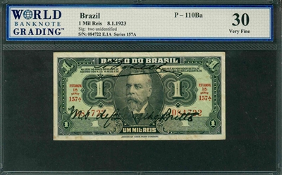 Brazil, P-110Ba, 1 Mil Reis, 8.1.1923, Signatures: two unidentified, 30 Very Fine