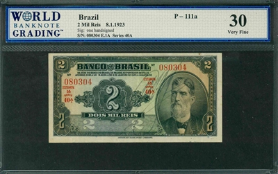 Brazil, P-111a, 2 Mil Reis, 8.1.1923, Signatures: one handsigned, 30 Very Fine, COMMENT: blue ink spots