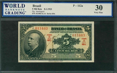 Brazil, P-112a, 5 Mil Reis, 8.1.1923, Signatures: handsigned, 30 Very Fine