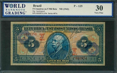 Brazil, P-125, 5 Cruzeiros on 5 Mil Reis, ND (1942), Signatures: handsigned, 30 Very Fine