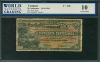 Uruguay, P-20b, 50 Centesimos, 18.10.1934, Signatures: West/Puig, 10 Very Good