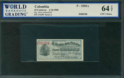 Colombia, P-S501x, 10 Centavos, 1.10.1900, Signatures: three unidentified, 64 TOP UNC Choice, ERROR