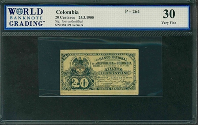 Colombia, P-264, 20 Centavos, 25.3.1900, Signatures: four unidentifed, 30 Very Fine