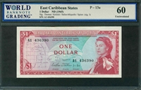 East Caribbean States, P-13a, 1 Dollar, ND (1965), Signatures: Thomas/Kelsick/Salles-Miquelle/Spiers (sig.1), 60 Uncirculated