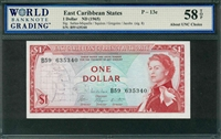 East Caribbean States, P-13e, 1 Dollar, ND (1965), Signatures: Salles-Miquelle/Squires/Gregoire/Jacobs (sig. 8), 58 TOP About UNC Choice