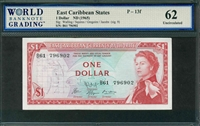 East Caribbean States, P-13f, 1 Dollar, ND (1965), Signatures: Walling/Squires/Gregoire/Jacobs (sig. 9), 62 Uncirculated