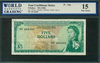 East Caribbean States, P-14e, 5 Dollars, ND (1965), Signatures: Gittens/Mendes/Williams/Smith (sig. 6), 15 Fine Choice