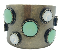 B969- Antique Bronze Cuff with round Milky & Pacific Opals