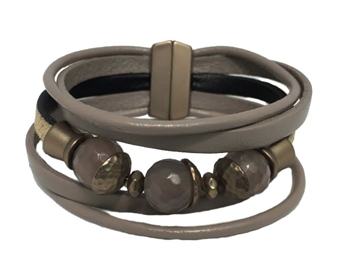 Bracelet -Taupe leather with natural agate