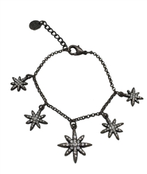 Bracelet  - 5 Antique bronze stars with clear crystals