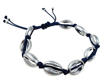 Bracelet - Navy cord with burnished silver shells