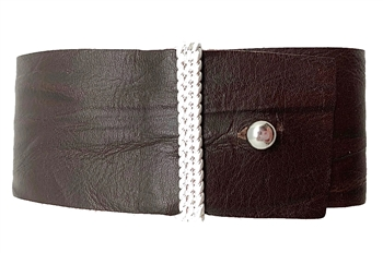 Bracelet - Natural brown Italian leather with silver buckle
