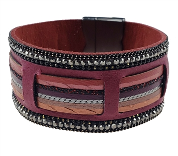 Bracelet - Red leather and chain mix