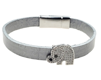 Bracelet - Silver leather with clear crystal elephant