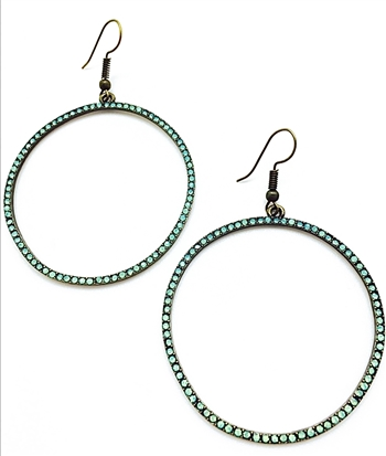 earrings- Antique bronze thin hoop with pacific opals