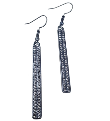 Earrings - Matte gun metal bar with black diamonds