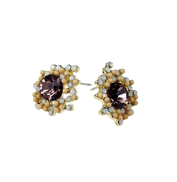 Earrings - Plum crystal with milky opal and yellow stone, post