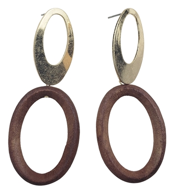 Earrings - Double oval alloy and wood hoops in gold post