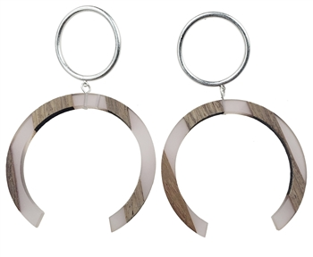Earrings - Silver circle with light pink resin & wood horseshoe, post