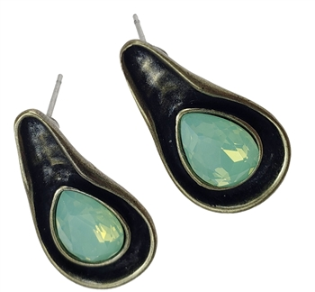 Earrings - Tear shape antique bronze with pacific opal, post