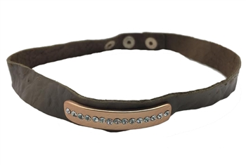 Necklace - Brown leather choker with curved matte gold bar & clear crystals