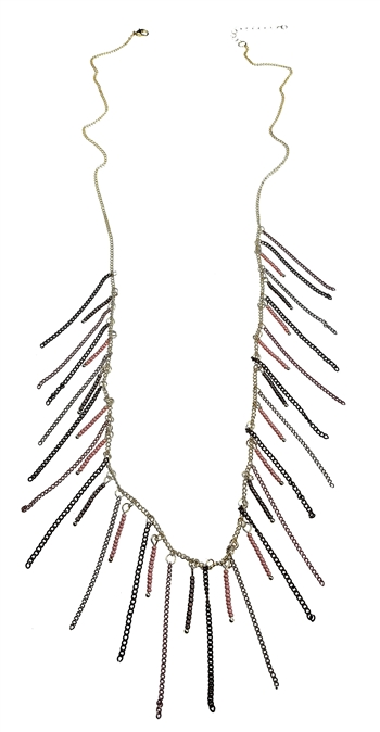 Necklace - Gold, dusty rose pink, bronze, grey beads & chains fringe