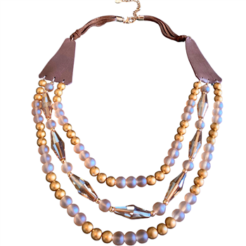 Necklace - Brown leather with topaz and gold beads