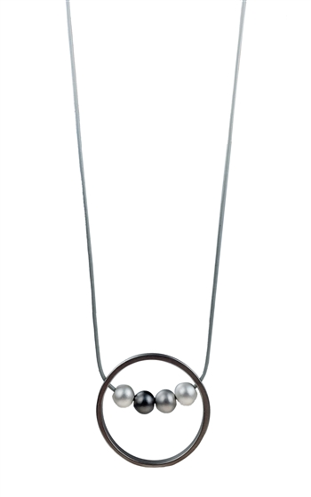 Necklace - Grey leather with matte rhodium circle and mix metal balls