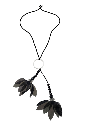 Necklace - Black cord with silver circle, black beads and chiffon flower