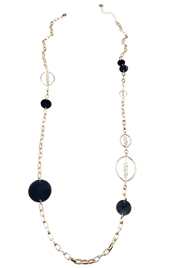 Necklace - Long gold chain with black marbleized resin circles