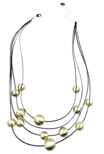 Necklace - Silver grey leather with scratch gold balls