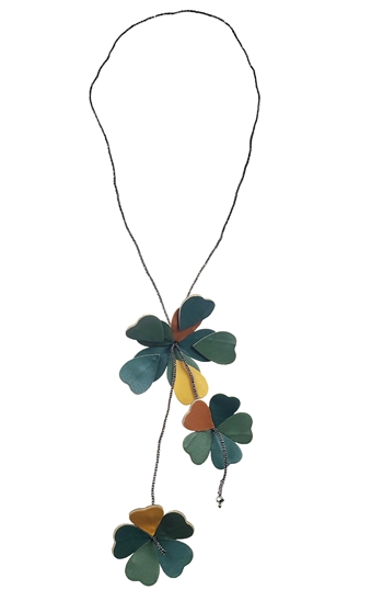 Necklace - Dark green and camel leather flower drops
