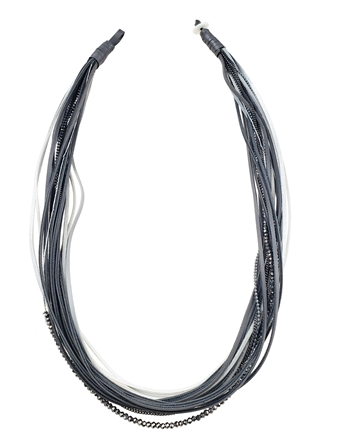 Necklace - Multi row grey & white leather with chains & beads