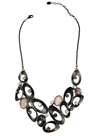 Necklace - Antique bronze concave ovals with milky & dusty pink crystals