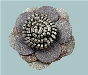 Pin - Metallic taupe & bronze leather flower