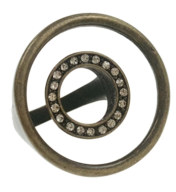 Ring - Antique bronze Concentric Circles with Clear Crystals