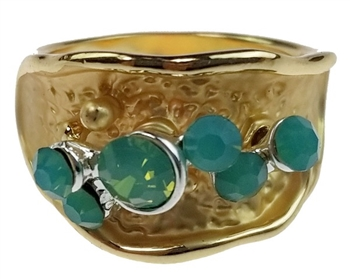 Ring - Gold Band with Pacific Opals