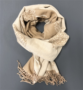 Scarf - 2 Sided Beige/off white tree pattern
