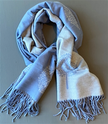 Scarf - 2 Sided denim blue/ light grey tree pattern