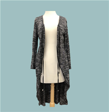Sweater - Long dark grey with white lines