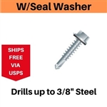 "Hex Self Drill Screw 12-24 x 7/8"" #4 With Seal Washer Point 100 Pieces"