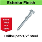 "Hex Self Drill Screw 12-24 x 1-1/4"" #5 Point Exterior Coated"