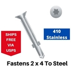 "Stainless Flat Head Self Drill w/Wings 1/4-20 x 2-3/4""  Torx Drive"