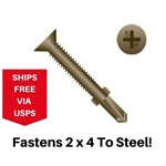 "Flat Head Self Drill w/Wings 1/4-20 x 2-3/4"" 100 pieces"