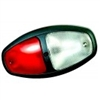 Dual Bulb Dome, Ground Sw, Bk Bezel, Red/Clear