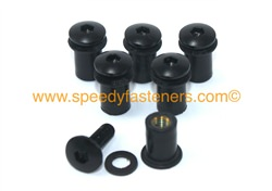 6x M5 5mm Rubber Well Nuts & Black Anodised Aluminium Bolts for Screen / Fairing