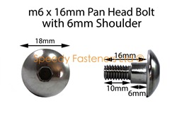 Stainless Steel Motorcycle Fairing Bolts m6 x 16mm with 6mm Shoulder. Yamaha, Suzuki, Honda