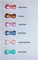 Plastic Bow Dog Barrette Pearl